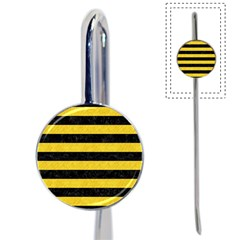 Stripes2 Black Marble & Yellow Colored Pencil Book Mark by trendistuff