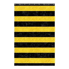 Stripes2 Black Marble & Yellow Colored Pencil Shower Curtain 48  X 72  (small)
