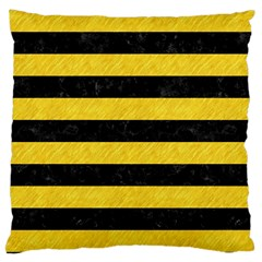 Stripes2 Black Marble & Yellow Colored Pencil Large Cushion Case (one Side) by trendistuff