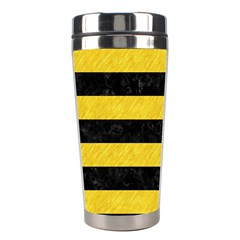 Stripes2 Black Marble & Yellow Colored Pencil Stainless Steel Travel Tumblers by trendistuff