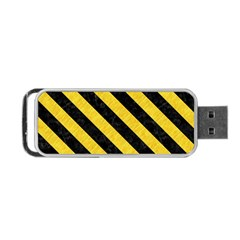 Stripes3 Black Marble & Yellow Colored Pencil Portable Usb Flash (two Sides)