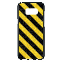 Stripes3 Black Marble & Yellow Colored Pencil Samsung Galaxy S8 Plus Black Seamless Case