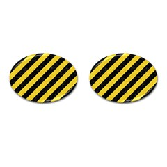 Stripes3 Black Marble & Yellow Colored Pencil (r) Cufflinks (oval) by trendistuff