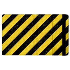 Stripes3 Black Marble & Yellow Colored Pencil (r) Apple Ipad 3/4 Flip Case by trendistuff