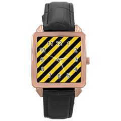 Stripes3 Black Marble & Yellow Colored Pencil (r) Rose Gold Leather Watch  by trendistuff
