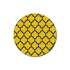 Tile1 Black Marble & Yellow Colored Pencil Rubber Coaster (round)  by trendistuff