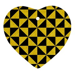 Triangle1 Black Marble & Yellow Colored Pencil Heart Ornament (two Sides) by trendistuff