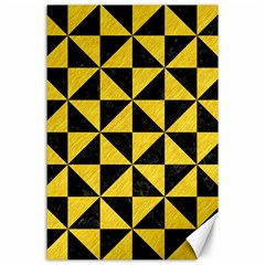 Triangle1 Black Marble & Yellow Colored Pencil Canvas 24  X 36  by trendistuff