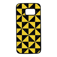 Triangle1 Black Marble & Yellow Colored Pencil Samsung Galaxy S7 Black Seamless Case by trendistuff