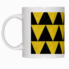 Triangle2 Black Marble & Yellow Colored Pencil White Mugs by trendistuff