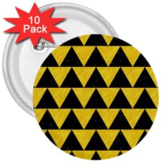Triangle2 Black Marble & Yellow Colored Pencil 3  Buttons (10 Pack)  by trendistuff