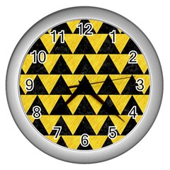 Triangle2 Black Marble & Yellow Colored Pencil Wall Clocks (silver)  by trendistuff