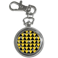 Triangle2 Black Marble & Yellow Colored Pencil Key Chain Watches by trendistuff