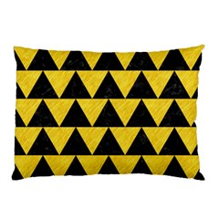 Triangle2 Black Marble & Yellow Colored Pencil Pillow Case (two Sides) by trendistuff