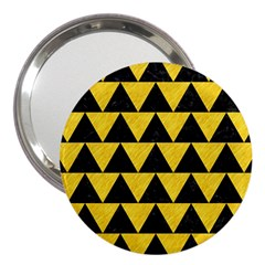 Triangle2 Black Marble & Yellow Colored Pencil 3  Handbag Mirrors by trendistuff