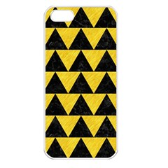 Triangle2 Black Marble & Yellow Colored Pencil Apple Iphone 5 Seamless Case (white)