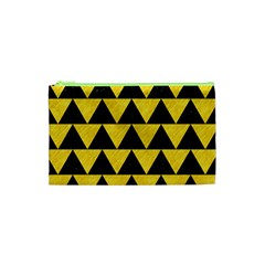Triangle2 Black Marble & Yellow Colored Pencil Cosmetic Bag (xs) by trendistuff
