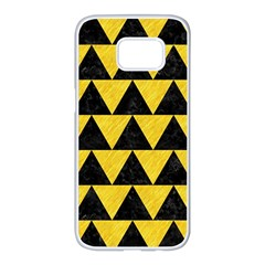 Triangle2 Black Marble & Yellow Colored Pencil Samsung Galaxy S7 Edge White Seamless Case by trendistuff