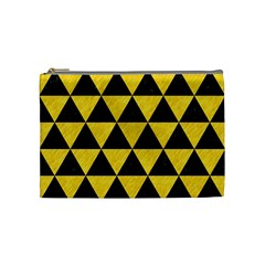 Triangle3 Black Marble & Yellow Colored Pencil Cosmetic Bag (medium)  by trendistuff