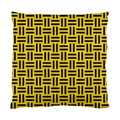 Woven1 Black Marble & Yellow Colored Pencil Standard Cushion Case (one Side) by trendistuff