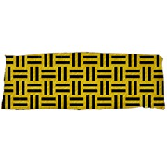 Woven1 Black Marble & Yellow Colored Pencil Body Pillow Case Dakimakura (two Sides) by trendistuff