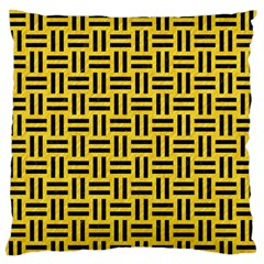 Woven1 Black Marble & Yellow Colored Pencil Large Flano Cushion Case (one Side)