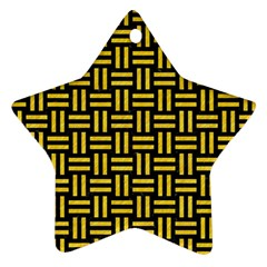 Woven1 Black Marble & Yellow Colored Pencil (r) Ornament (star) by trendistuff