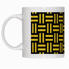 Woven1 Black Marble & Yellow Colored Pencil (r) White Mugs by trendistuff