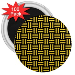 Woven1 Black Marble & Yellow Colored Pencil (r) 3  Magnets (100 Pack) by trendistuff