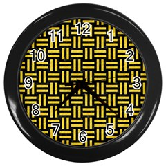 Woven1 Black Marble & Yellow Colored Pencil (r) Wall Clocks (black) by trendistuff