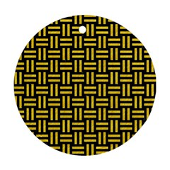 Woven1 Black Marble & Yellow Colored Pencil (r) Round Ornament (two Sides) by trendistuff