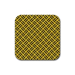 Woven2 Black Marble & Yellow Colored Pencil Rubber Square Coaster (4 Pack)  by trendistuff