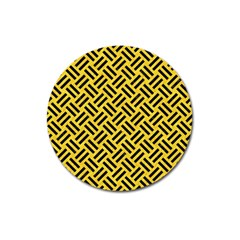 Woven2 Black Marble & Yellow Colored Pencil Magnet 3  (round) by trendistuff