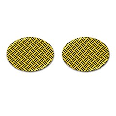 Woven2 Black Marble & Yellow Colored Pencil Cufflinks (oval) by trendistuff
