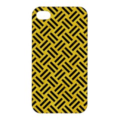 Woven2 Black Marble & Yellow Colored Pencil Apple Iphone 4/4s Hardshell Case by trendistuff