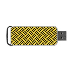 Woven2 Black Marble & Yellow Colored Pencil Portable Usb Flash (one Side) by trendistuff