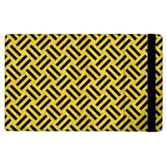 Woven2 Black Marble & Yellow Colored Pencil Apple Ipad 3/4 Flip Case by trendistuff