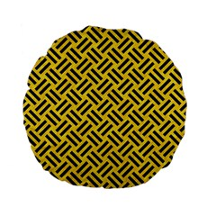 Woven2 Black Marble & Yellow Colored Pencil Standard 15  Premium Flano Round Cushions by trendistuff