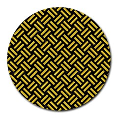 Woven2 Black Marble & Yellow Colored Pencil (r) Round Mousepads by trendistuff
