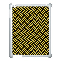 Woven2 Black Marble & Yellow Colored Pencil (r) Apple Ipad 3/4 Case (white) by trendistuff