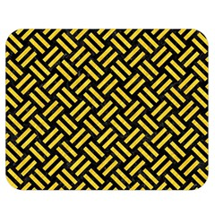 Woven2 Black Marble & Yellow Colored Pencil (r) Double Sided Flano Blanket (medium)  by trendistuff