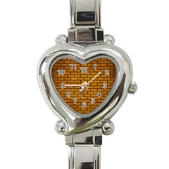 Brick1 Black Marble & Yellow Grunge Heart Italian Charm Watch by trendistuff