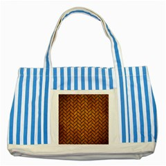 Brick2 Black Marble & Yellow Grunge Striped Blue Tote Bag by trendistuff