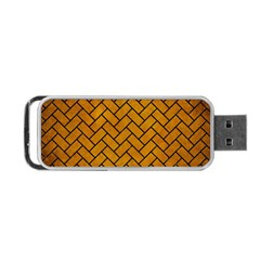 Brick2 Black Marble & Yellow Grunge Portable Usb Flash (two Sides) by trendistuff