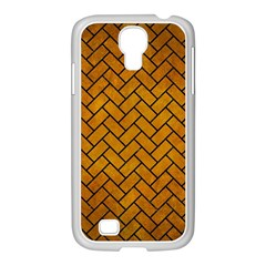 Brick2 Black Marble & Yellow Grunge Samsung Galaxy S4 I9500/ I9505 Case (white) by trendistuff