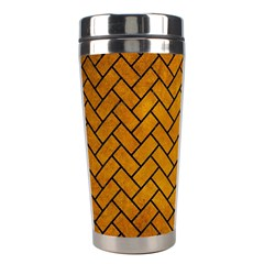 Brick2 Black Marble & Yellow Grunge Stainless Steel Travel Tumblers by trendistuff
