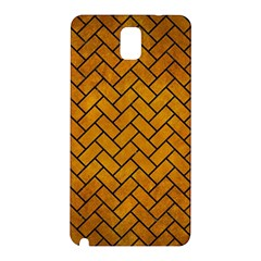 Brick2 Black Marble & Yellow Grunge Samsung Galaxy Note 3 N9005 Hardshell Back Case by trendistuff