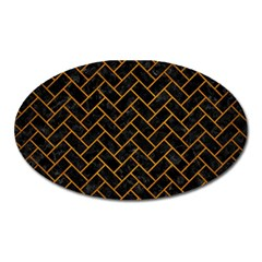 Brick2 Black Marble & Yellow Grunge (r) Oval Magnet
