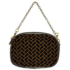 Brick2 Black Marble & Yellow Grunge (r) Chain Purses (one Side)
