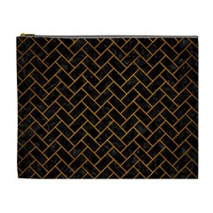 Brick2 Black Marble & Yellow Grunge (r) Cosmetic Bag (xl) by trendistuff